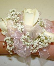 Pale Pink & White Wrist Corsage