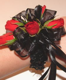 Red & Black Wrist Corsage