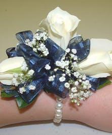 Blue & White Wrist Corsage