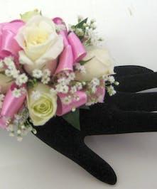 Pink & White Wrist Corsage