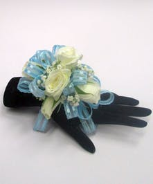 Pale Blue & White Wrist Corsage