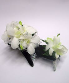 White Orchid Wrist Corsage and Boutoniere