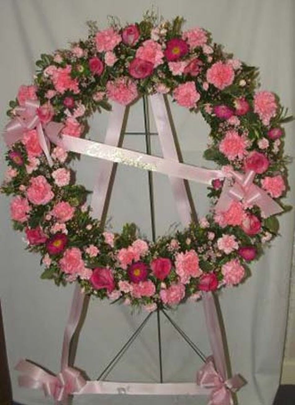 Funeral Wreath Pink Salisbury Md Florist Flower Delivery Chevy Truck Candy Color Today Available Order Within