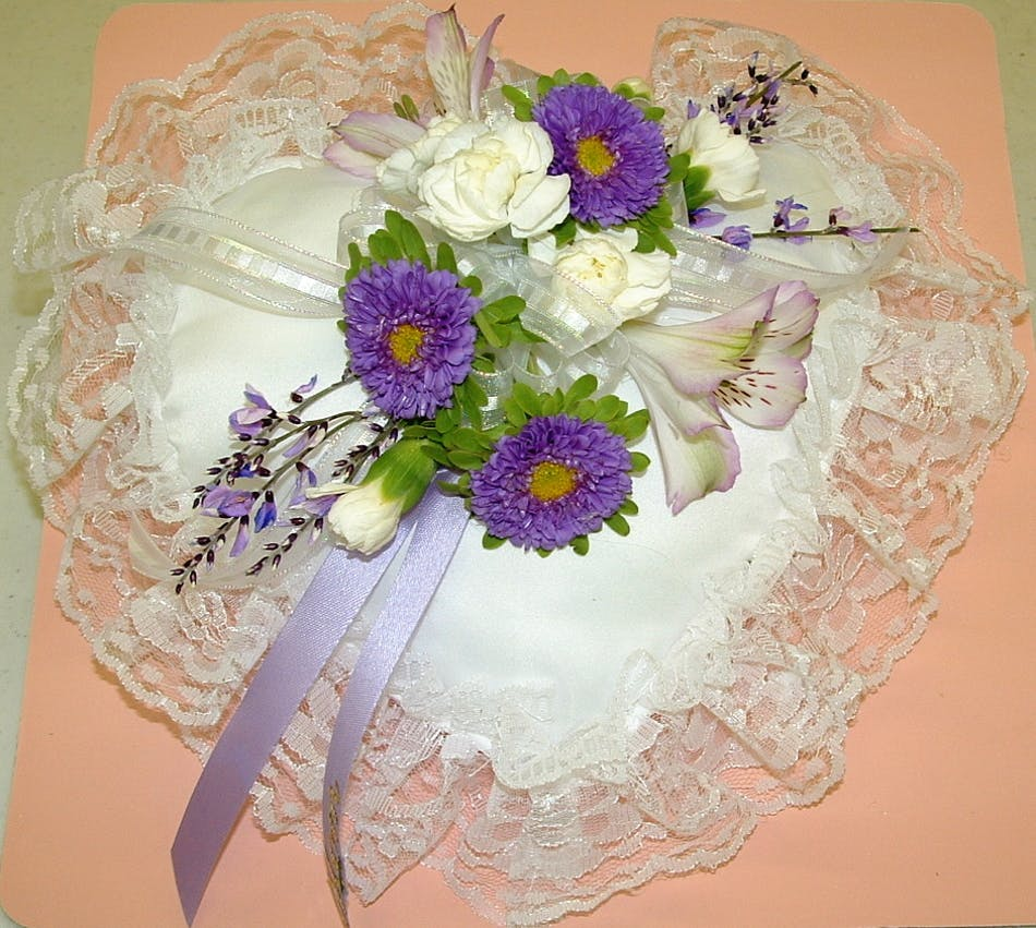 Heart Pillow Purple White Salisbury Md Florist Flower Chevy Truck Candy Color Delivery Conditions Reward Points